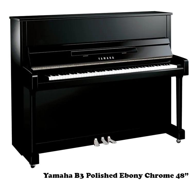 """Yamaha b3 polished ebony chrome 48"""" upright"""