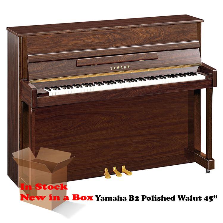 Yamaha B2 in Polished Walnut 45 inch tall upright piano